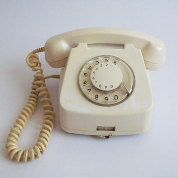Vintage Rotary Phone- Dial Phone Cream - Retro European Rotary Phone- cream rotary phone- Home phone