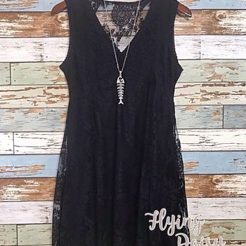 Umgee Black Lace Sleeveless Dress