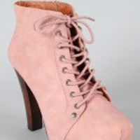 Qupid Puffin-06 Leatherette Lace Up Bootie