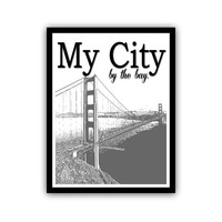 San Francisco Golden Gate Bridge Typography Art Print