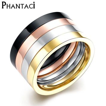 4 pcs/set 316L Titanium Stainless Steel Rings For Cool Men or Women Gold Color Gothic Finger Ring Glazed Fashion Cool Jewelry