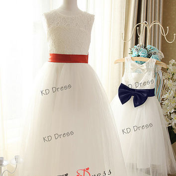 ON SALE !!! Ivory Lace Keyhole Tulle Flower Girl Dress Kids/Children Birthday Party Dress with Red/Navy Blue Sash/Bow(Z1026)