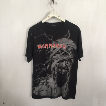 Iron Maiden shirt vintage t shirt band t-shirts heavy metal clothing rock tshirt rock band shirts black metal band tee medium
