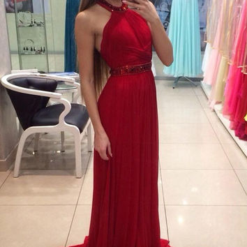 Halter Beads Red A-Line Prom Dresses
