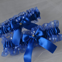 Wedding Garter Set in Royal Blue with Polka Dotted Sheer Organza