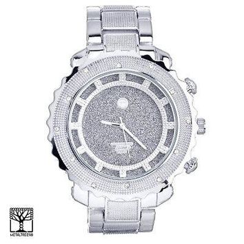 Jewelry Kay style Men's CZ Bling Silver Plated Iced Out Fashion Metal Heavy Band Watch WM 5980 S
