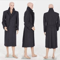 Sherlock Holmes Men Winter Warm Coat Outfit Dress Cape Adult Detective Movie Halloween Cosplay Costume   Made