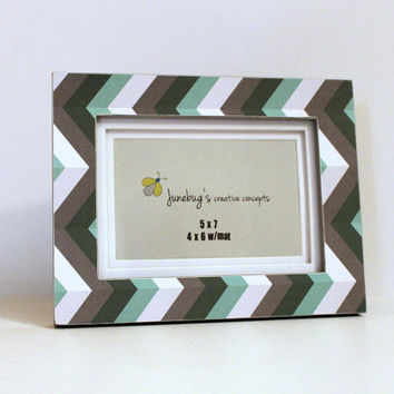 5x7 4x6 Photo Frame Aqua Gray Chevron