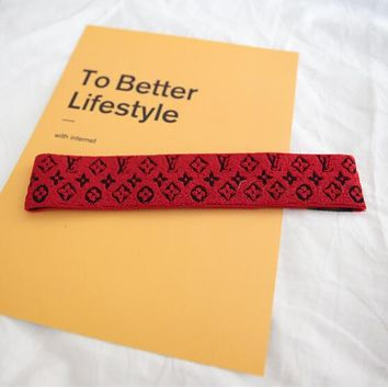 LV Popular Women Men Sport Crochet Knit Knitted Headwrap Headband Warmer Head Hair Band Red I12167-2