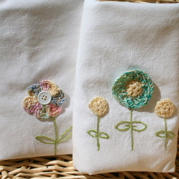 Dish Towels - Set of 2, hand embroidered, crochet flower accent