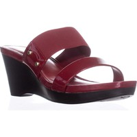 Lauren Ralph Lauren Rhianna Wedge Slide Sandals, Bright Red, 9.5 US / 40.5 EU