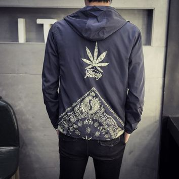 HighLife Navy Blue Bandanna Embroidered Hooded Windbreaker