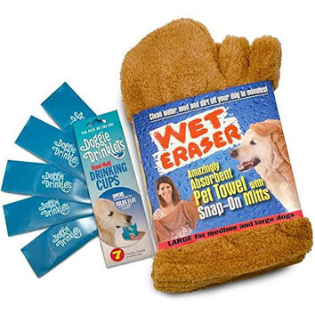 Microfiber Towel for Dogs Wet Eraser + FREE BONUS 5 Travel Dog Bowls- Best Dog Bath Wash Towel with Snap-on Mitts Hand Pockets for Underbelly Drying Quick Drying Holds 7 Times Its Weight in Water