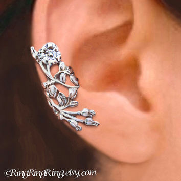 Wild Rose ear cuff, Sterling Silver earrings , leaf and flower earcuff clip, Rose earring, unique jewelry, Right