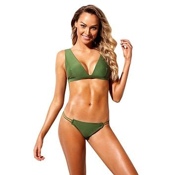 Army Green Roped Up Skimpy 2pcs Swimsuit