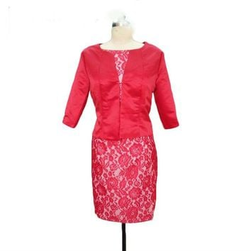 Satin Lace Mother of the Bride Dresses with Jacket Knee length Formal Mother Dresses