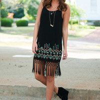 Aztec Sass Dress, Black