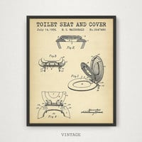 Bathroom Prints, Toilet Seat and Cover Patent Art, Digital Download Blueprint Art, Bathroom Decor, Patent Wall Art, Toilet Poster, Invention