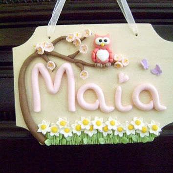 Personalized Kids Door Sign. Owl Name Sign.Name Wall Hanging