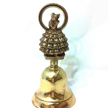 Vintage Brass Bell Lady Bell Women Bell Esmeralda Crinoline Lady Brass Bell Sunbonnet Sue Table Top Bell Small Bell Fourever Seven