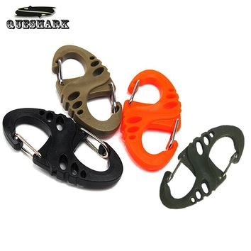 10Pcs/lot S Type Keychain Carabiners Climbing Backpack Clasps EDC Gear Camping Bottle Hooks Paracord Tactical Survival Tool