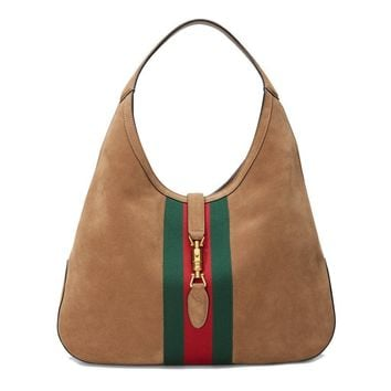Gucci Womens Handbag Jackie Soft Suede Hobo Shoulder Bag 362968 2877 Brwn Taupe