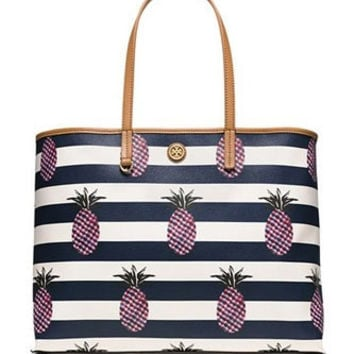 Tory Burch Kerrington Pineapple Stripe Square Tote