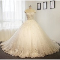 Amanda Novias High Quality Puffy Princess Flowers Wedding Dress Ball Gown 2017