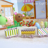1:12, Dollhouse, Miniatures, Party, OOAK, Lollipop, Candy, Balloon, Store, Cafe, Clay, Frog, Pig, Bear, Cute, Little, Dal, Mini, Cart, Wood