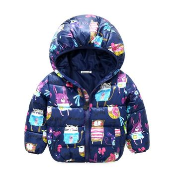 Girls Winter Coat Long Sleeve Outerwear Coat Cotton Paddad baby Kids Clothing Outfits Jackets for children pink blue red