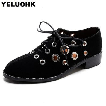 2018 New Hollow Female Summer Shoes British Style Oxford Shoes For Women Flat shoes Thick Soles Loafers High Quality