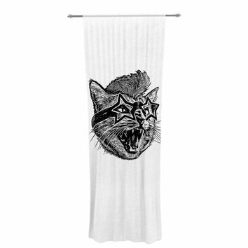 "BarmalisiRTB ""Funky Cat"" Black White Illustration Decorative Sheer Curtain"