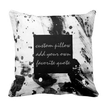 modern add your own quote abstract black and white throw pillow