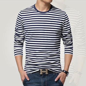 Navy style long-sleeve shirt men T-shirt o-neck stripe t shirt men shirt navy vintage basic 95% cotton shirt
