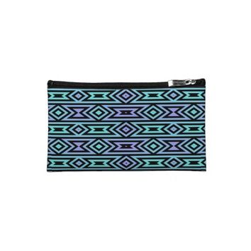 Lilac/Teal Tribal Pattern Sueded Cosmetic Bag @ Zazzle.com