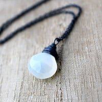 Moonstone Necklace In Sterling Silver, Oxidized Fashion, White Gemstone, June Birthstone - Moonshadow