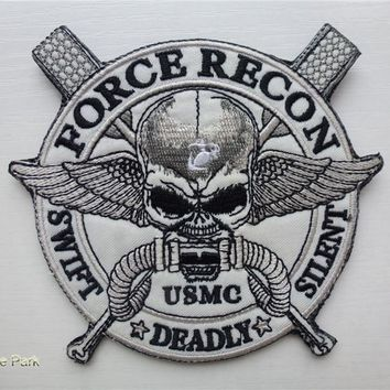 USMC Force Recon Swift Silent Deadly Patches hook&loop coat MILITARY Morale U.S. Marine Corps armband Tactical army  for vest