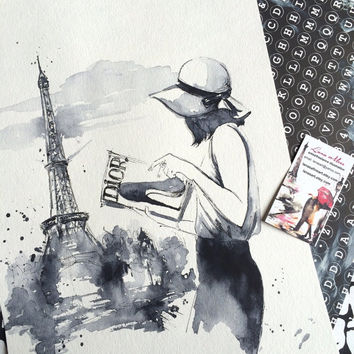 Dior Watercolor - Print Paris Illustration - Cityscape - Fashion Watercolor - Dior in Paris - Parisian Girl