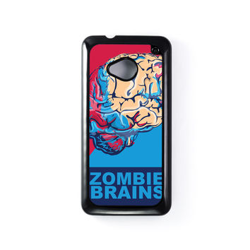Zombie Brains Black Hard Plastic Case for HTC One M7 by Nick Greenaway