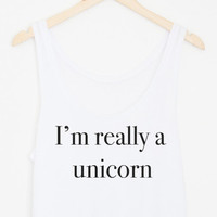 I'm Really a Unicorn Flowy Crop Tank
