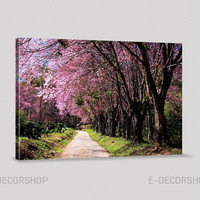 Almond Tree Canvas Print - Cherry Blossom Canvas Print, Large Canvas Print, Hang Ready, Custom Canvas Printing, Botanical Decor Theme