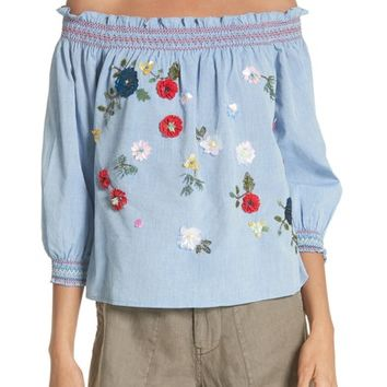 Joie Citra Embellished Peasant Top | Nordstrom