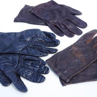 3 Pairs of Vintage Leather Gloves,Black Gloves,Brown Gloves,Leather Glove Lot,WELL USED GLOVES,Size 7-8,Ladies Gloves,Kid Gloves,Long Gloves