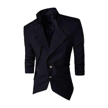 Special Casual Slim Fit Stylish Single Breasted Suit Blazer Halt-Sleeve Turn-Down Neck Waist Double Pocket Design Px60