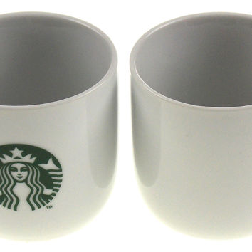 2013 Starbucks Coffee Mug Set of 2 White Green Siren Mermaid Emblem Logo 11 oz
