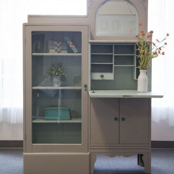 Oak Secretary Desk / Display Cabinet - Gray and Blue