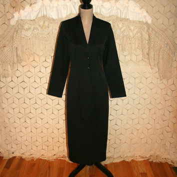 Vintage Long Black Coat Goth Clothing Steampunk Duster Coat Gothic Coat Womens Goth Coat Maxi Coat Size 2 Size 4 XS Small Womens Clothing