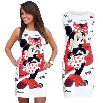 NEW Minnie Mouse Women Dress Summer Sexy Pencil Dresses Bodycon Sheath Vintage Fitness Vestidos Print Cute Dress FREE SHIPPING