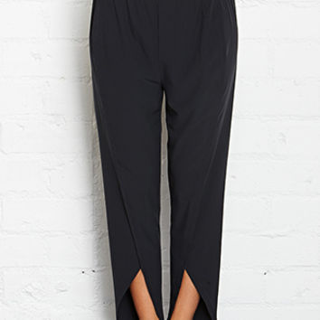 FOREVER 21 Tulip Hem Studio Pants Black/Neon Yellow