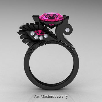 High Fashion Nature Inspired 14K Black Gold 3.0 Ct Pink Sapphire Diamond Marquise Eye Engagement Ring R359S-14KBGDPS